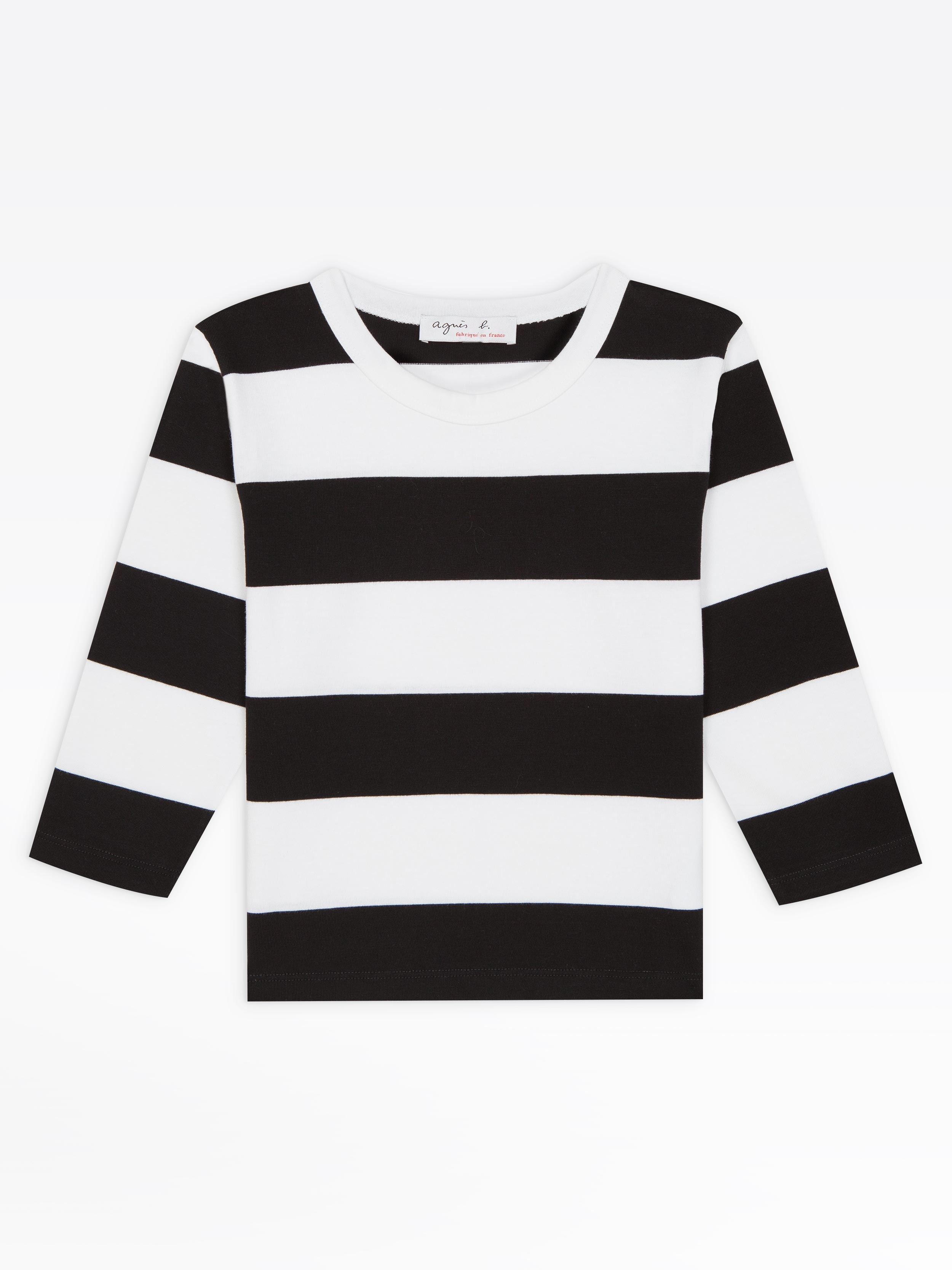 black t shirt with white stripes