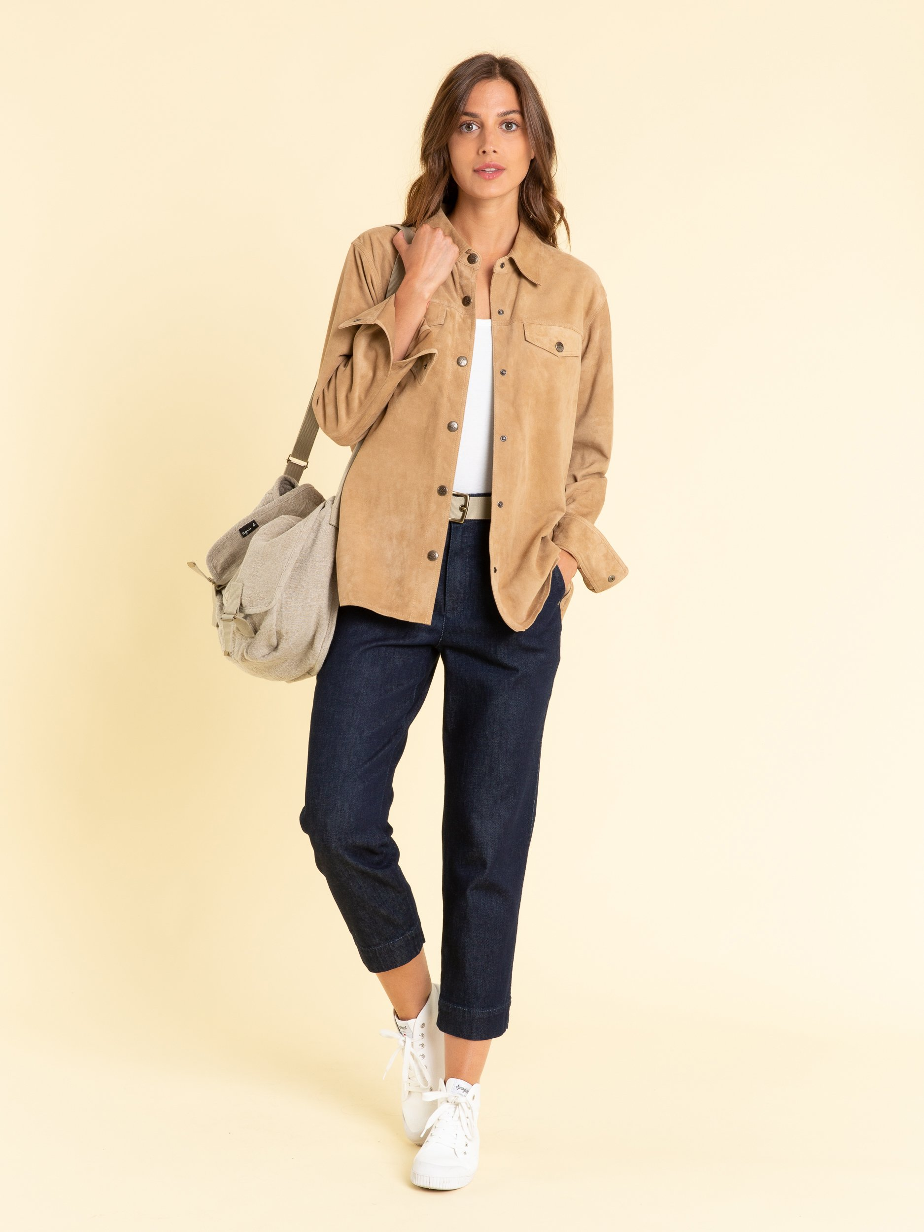 Light Brown Suede Leather Shirt