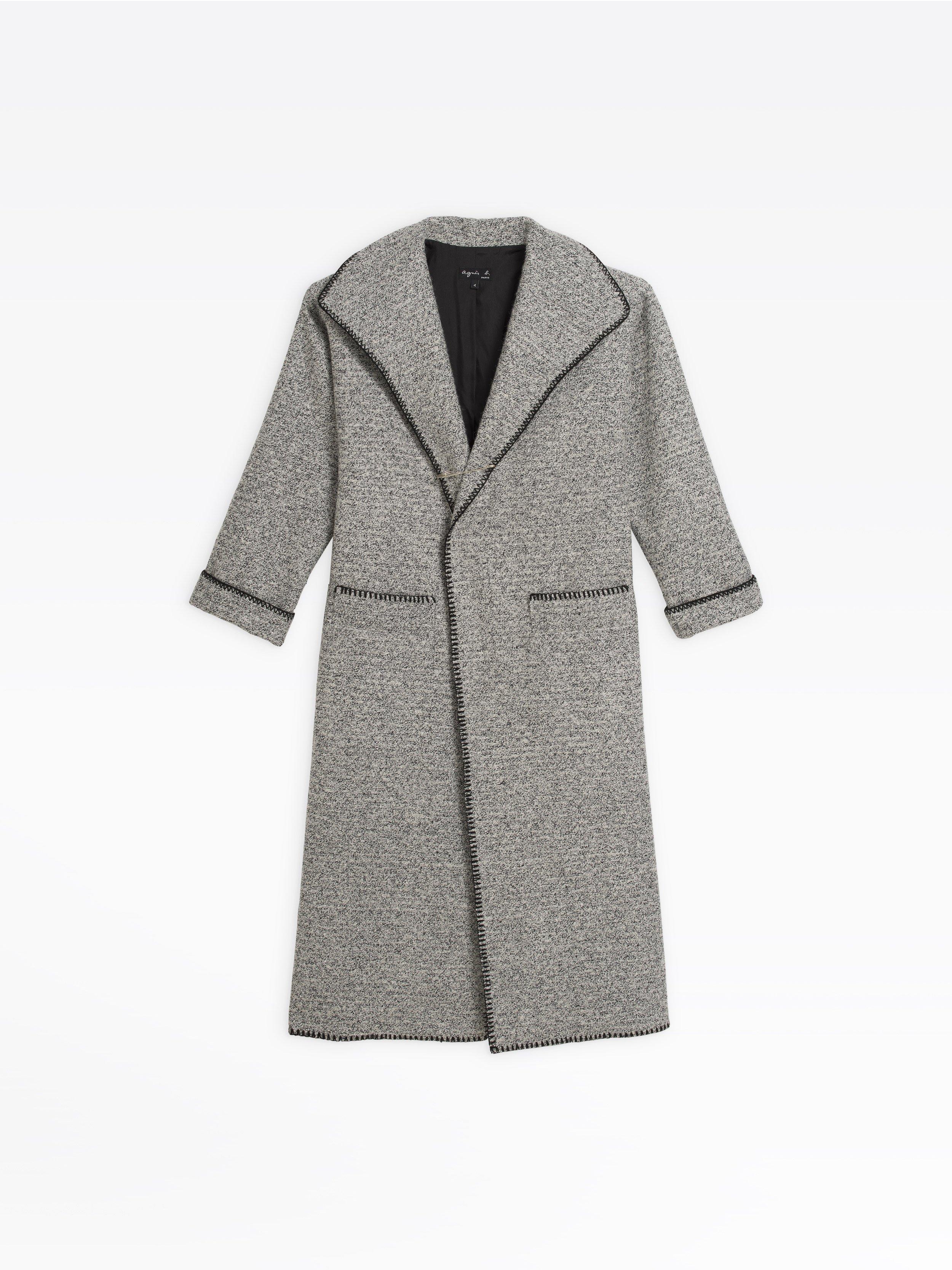En Chinée Blanc Long Manteau Et Bouclette Noir eHYED2W9I