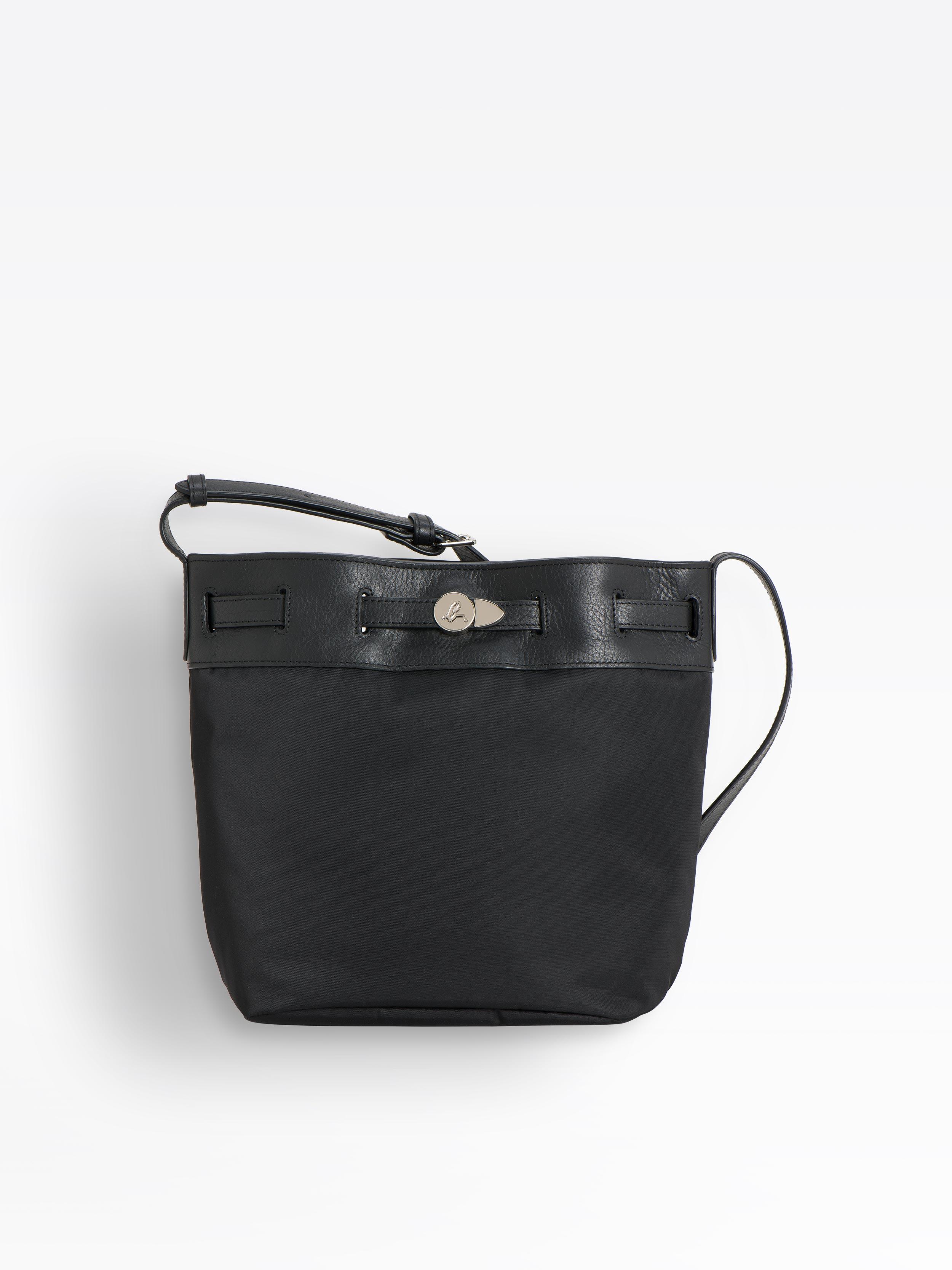 Black Nylon And Leather Bucket Bag