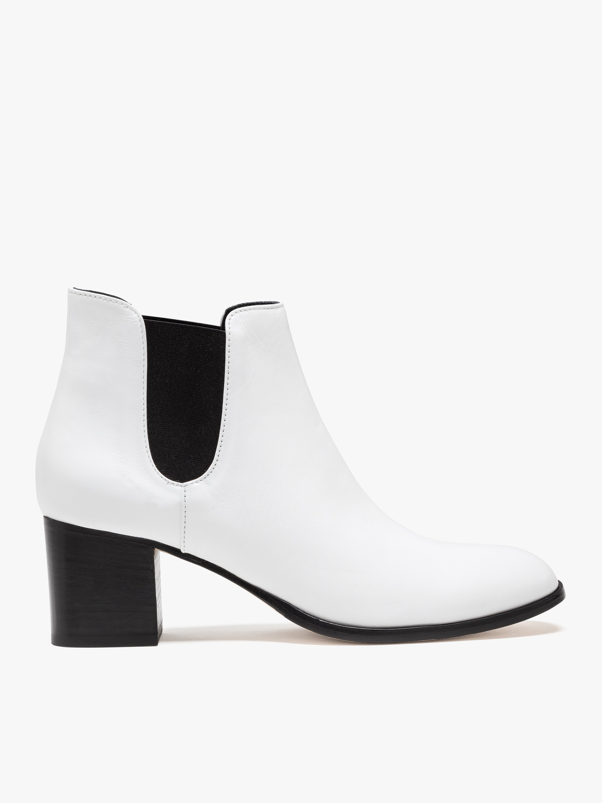 white leather deborah ankle boots